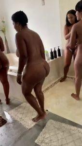 Busty Ebony Milfs Taking a Bath